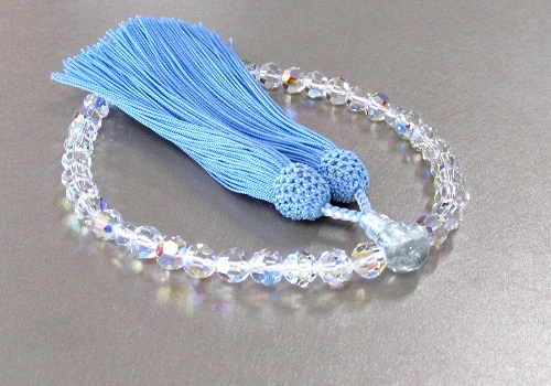 ◆女性用片手念珠 スワロフスキー7�o玉PC珠仕立 正絹細房
