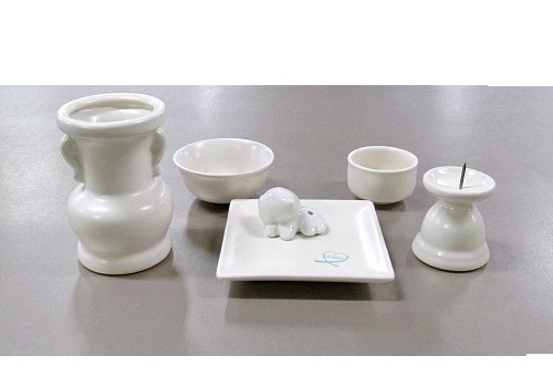◆具足セット ペット用陶器仏具セット 5点 パールホワイト
