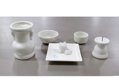 ●具足セット ペット用陶器仏具6点セット ホワイト