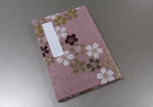 ◆御朱印帳 小 ��5 アコーディオン式 流れ桜・ピンク