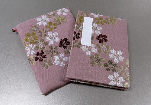◆御朱印帳&ケースのセット 小 ��5 アコーディオン式 流れ桜・ピンク
