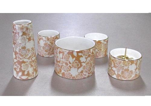 ●ゆい花 佛具5点セット (陶器製) 丸型香炉 シャンパンゴールド