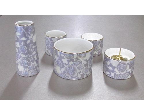 ■ゆい花 佛具5点セット (陶器製) 丸型香炉 藤