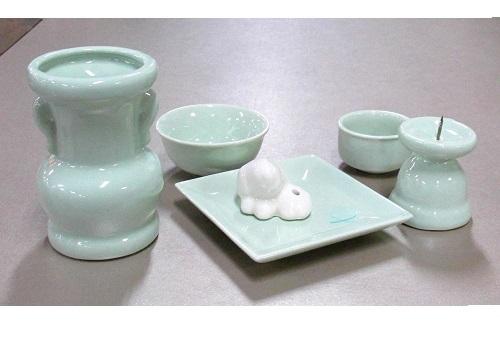 ◆具足セット ペット用陶器仏具セット 5点 グリーン