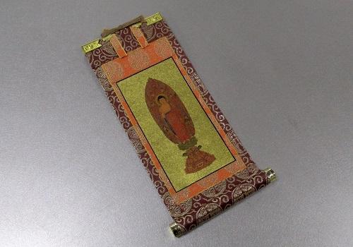 ◇仏壇用掛軸 茶表装ヘリ折り 豆代 本尊のみ