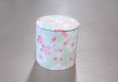 ◇骨壺・骨壷 シリコン付骨カメ 2.5寸 桜ころも グリーン ×20個