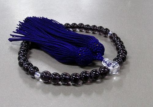 ○女性用片手念珠 ハリ念珠PC玉 頭房 紫