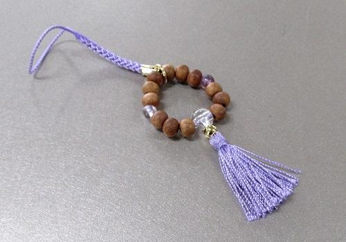 ○欅身代わり数珠 根付&ストラップ 蛍石