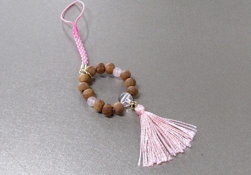 ○欅身代わり数珠 根付&ストラップ 紅水晶