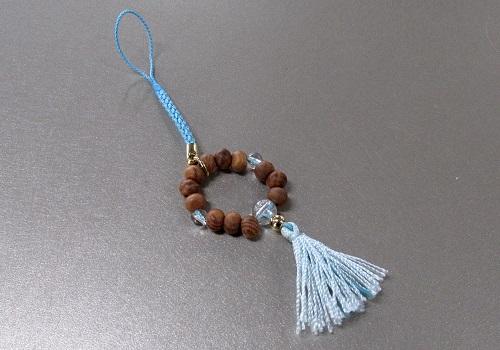 ◆欅身代わり数珠 根付&ストラップ 水晶