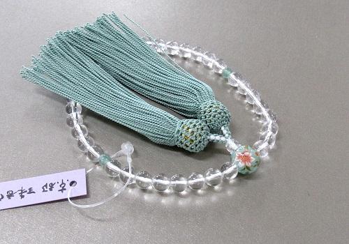 ◆女性用片手念珠 水晶二天印度翡翠仕立親玉PC花柄 正絹頭房 紙箱入