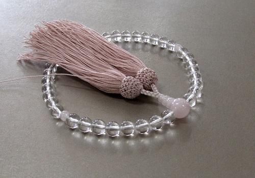 ◆女性用片手念珠 水晶ローズクォーツ仕立 正絹頭房