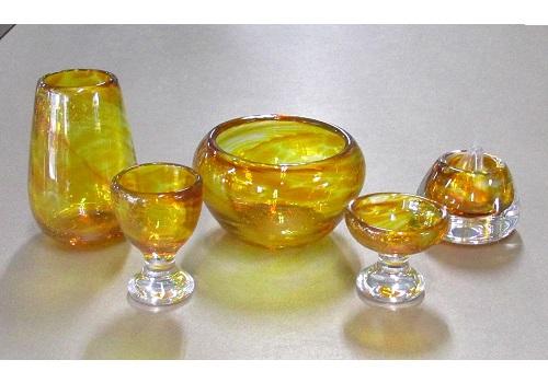 ◆オリジナルガラス仏具 5具足 シャルマン コハク