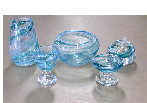 ◆オリジナルガラス仏具 5具足 シャルマン ブルー