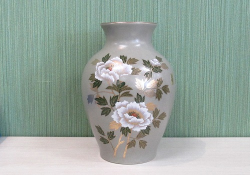 ◆美濃焼花瓶 8号グレー白牡丹