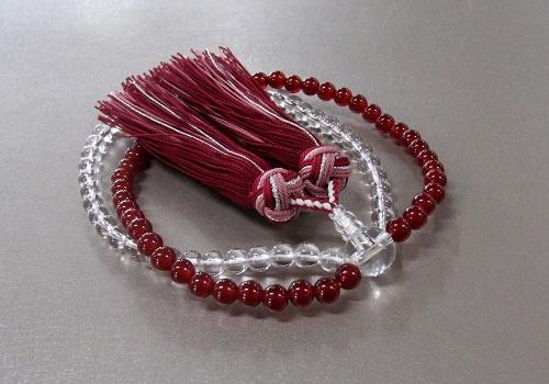 □女性用片手念珠 創作二連風数珠 瑪瑙・水晶 正絹房