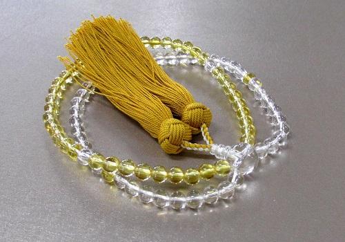 □女性用片手念珠 創作二連風数珠 黄水晶・水晶 正絹房