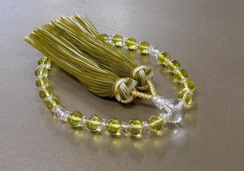 ◆女性用片手念珠 黄水晶・水晶仕立 桐箱入 三色房 創作念珠