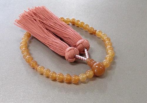 ◆女性用片手念珠 レッドアベンチュリン7�o玉共仕立 正絹房 桐箱入