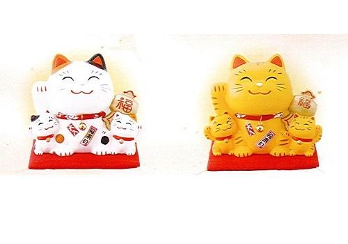 ◇幸せ家族招き猫 ちりめん 小 貯金箱
