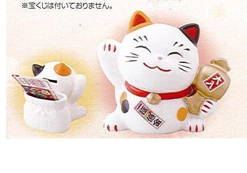 ◇幸せ招き猫宝くじ入れ 中 貯金箱 みけ