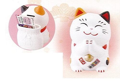 ◇幸せ招き猫宝くじ入れ 大 貯金箱 みけ