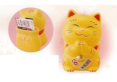 ◇幸せ招き猫宝くじ入れ 大 貯金箱 とら
