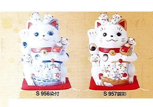 ◇招福づくし招き猫 磁器 染付・錦彩