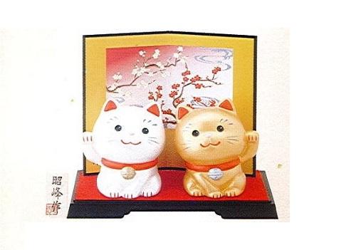 ◇幸せ招き猫 小 金・銀セット