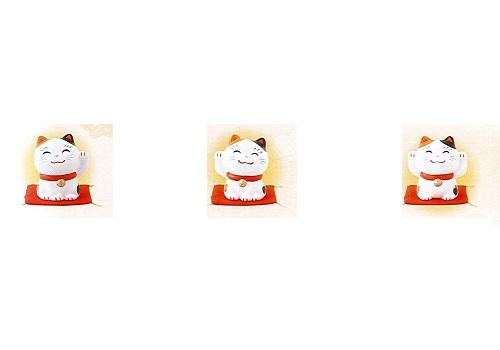 ◇幸せ招き猫 特小 両手上げ・左手上げ・右手上げ 3点セット みけ