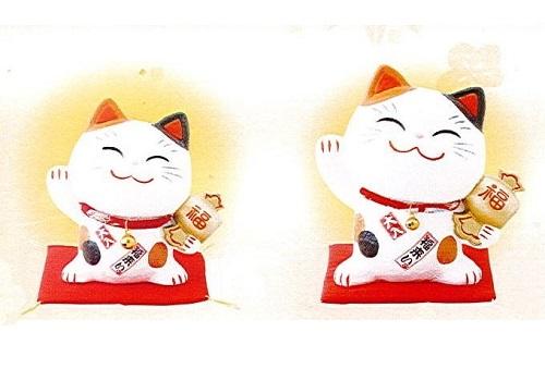 ◇幸せ招き猫 ちりめん 中 貯金箱 みけ