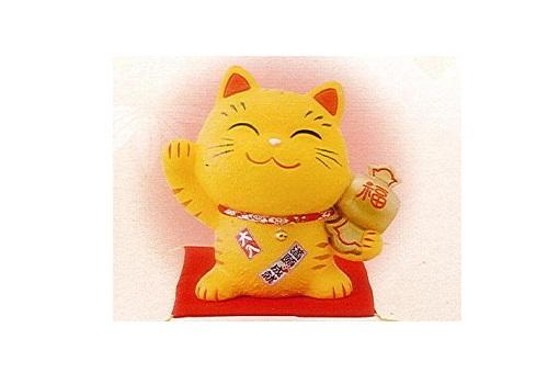 ◇幸せ招き猫 ちりめん 大 貯金箱 とら