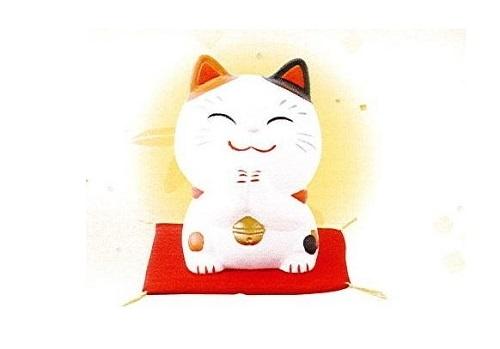 ◇幸せお願い猫 中 貯金箱 みけ