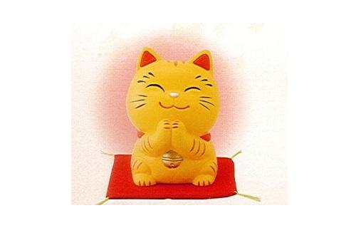 ◇幸せお願い猫 中 貯金箱 とら