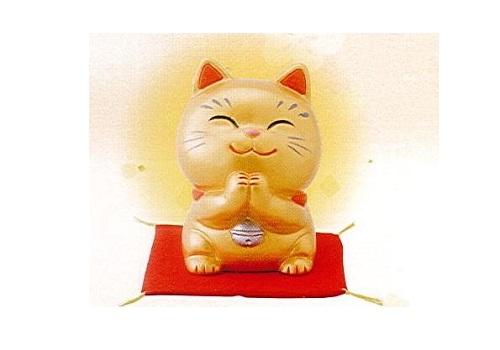 ◇幸せお願い猫 中 貯金箱 金