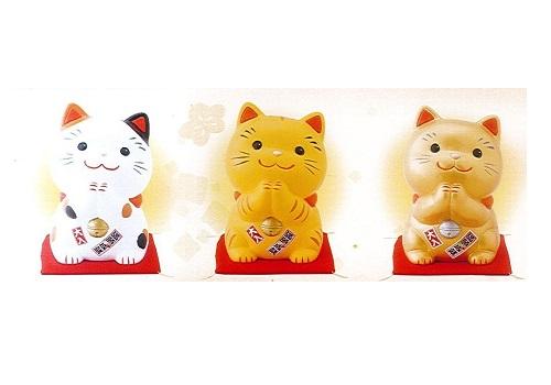 ◇幸せお願い猫 大 貯金箱 みけ・とら・金 3個セット