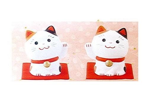 ◇幸せ招き猫 小 左手上げ・右手上げ 2点セット みけ