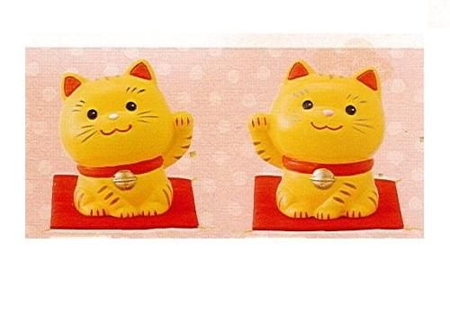 ◇幸せ招き猫 小 左手上げ・右手上げ 2点セット とら