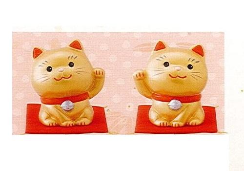 ◇幸せ招き猫 小 左手上げ・右手上げ 2点セット 金