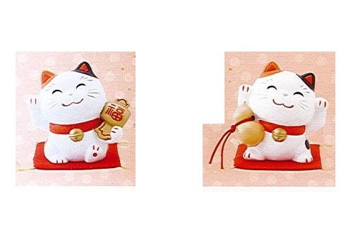 ◇幸せ招き猫 小 小槌・瓢箪セット みけ