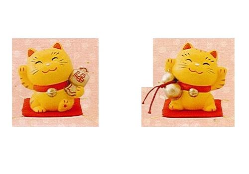 ◇幸せ招き猫 小 小槌・瓢箪セット とら