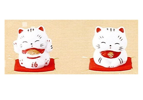 ◇招き猫たまちゃん (磁器) 宝袋・いらっしゃいませ