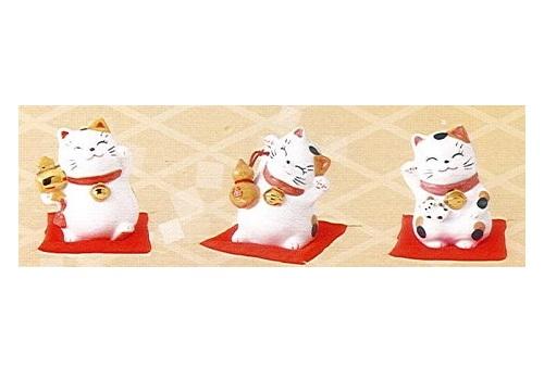 ◇財福招き猫 (磁器) 福槌・千成・親子 3個セット