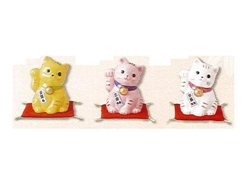 ◇風水招き猫 (右) 黄・桃・白 3個セット