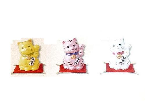 ◇風水招き猫 (左) 黄・桃・白 3個セット