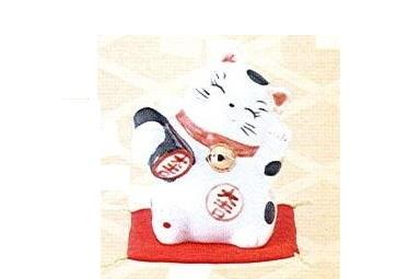 ◇財福招き猫 太鼓判 (磁器)