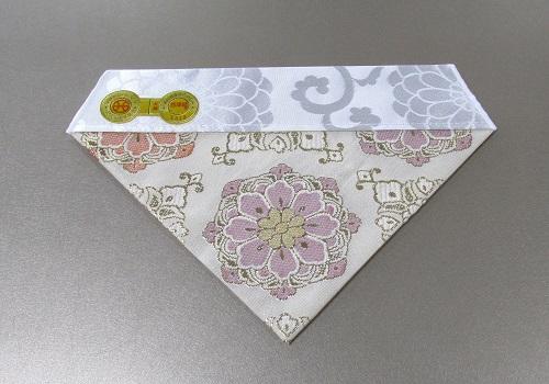 □夏用三角打敷 正絹金紗 新華紋 50代 浄土真宗用