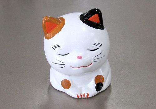 ◆おいでやす招き猫 中 みけ 貯金箱