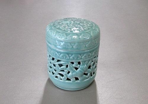 ◆骨壺・骨壷 透かし鳳凰 緑青磁 2.3寸
