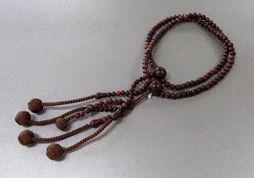 ◆法華用本連尺2 素挽紫檀 共仕立 かがり梵天 日蓮宗108珠 桐箱入